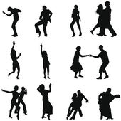 Collection of different dance silhouettes Vector illustration