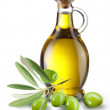 thumbnail of Branch with olives and a bottle of olive oil.