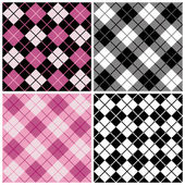 Four seamless argyle-plaid patterns in magenta and black Tiles repeat 6 inches