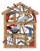Home construction tools in a wood frame house Tools are grouped individually House frame is on a separate layer