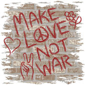 Illustration of anti-war graffiti on a brick wall Type style is my own design