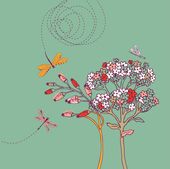 Flower background with dragonfly