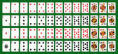 Poker playing cards full deck Green background in a separate level in vector file