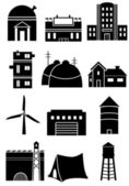 Set of generic black and white building symbols representing different types of man-made structures