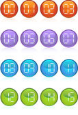 Set of 16 digital buttons counting from 0 to 15