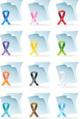 Set of awareness ribbon icons in a variety of colors