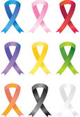 Set of 9 awareness ribbon icons in a variety of colors