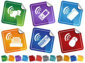 Set of 6 stickers showing wireless connections on different devices