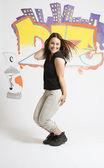Break dancing girl posing