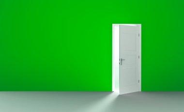 Open door in a empty green room