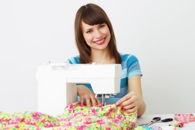 Girl and a sewing machine