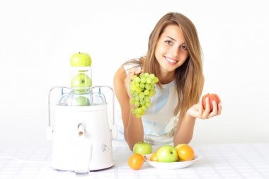 Happy girl about juicers