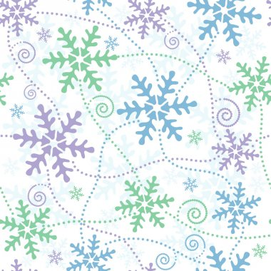 Seamless white, blue, green and pink pastel christmas pattern (vector) clip art vector