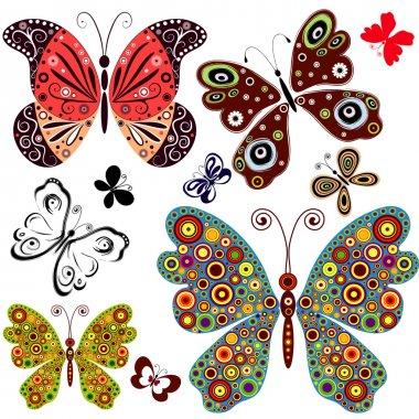 Set abstract butterflies