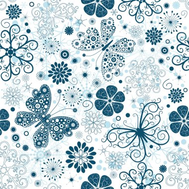 Repeating white-blue christmas floral pattern