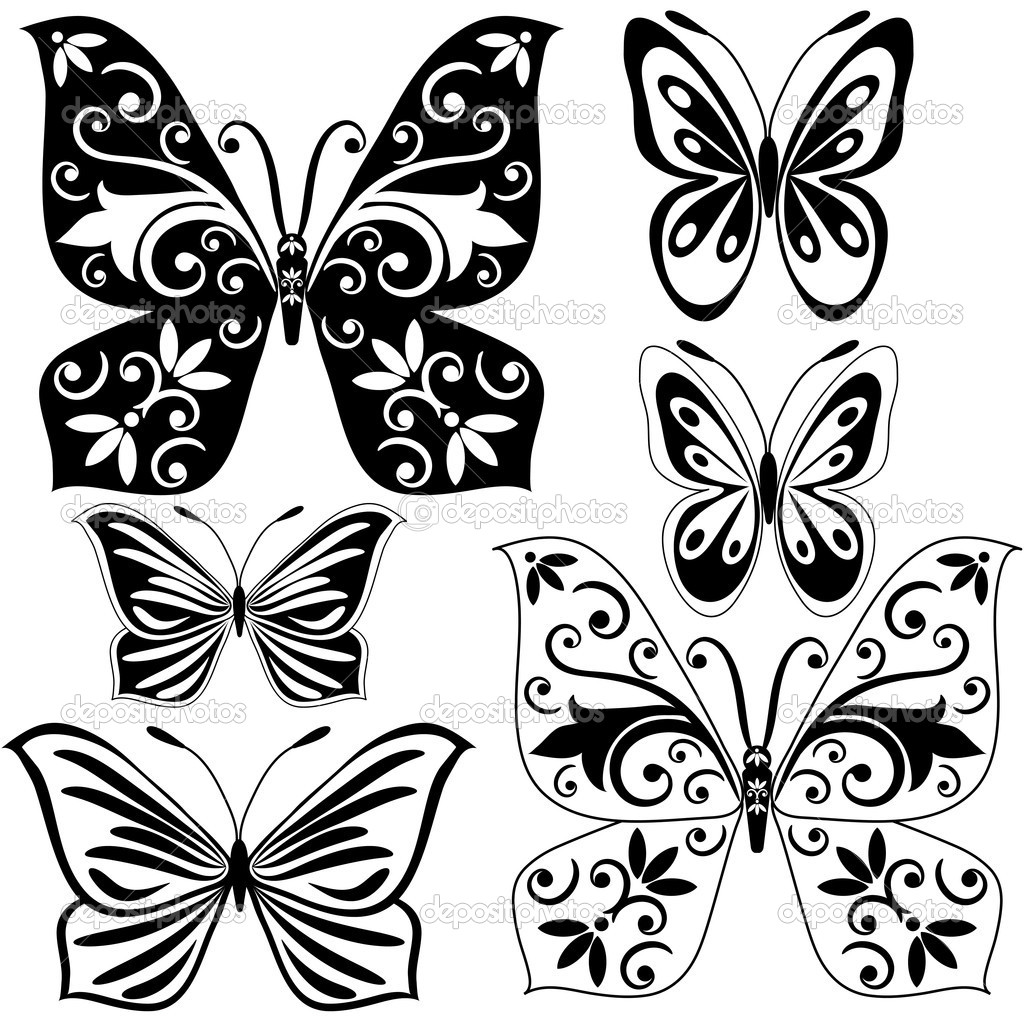 set black and white butterflies u2014 stock vector olgadrozd 3815010