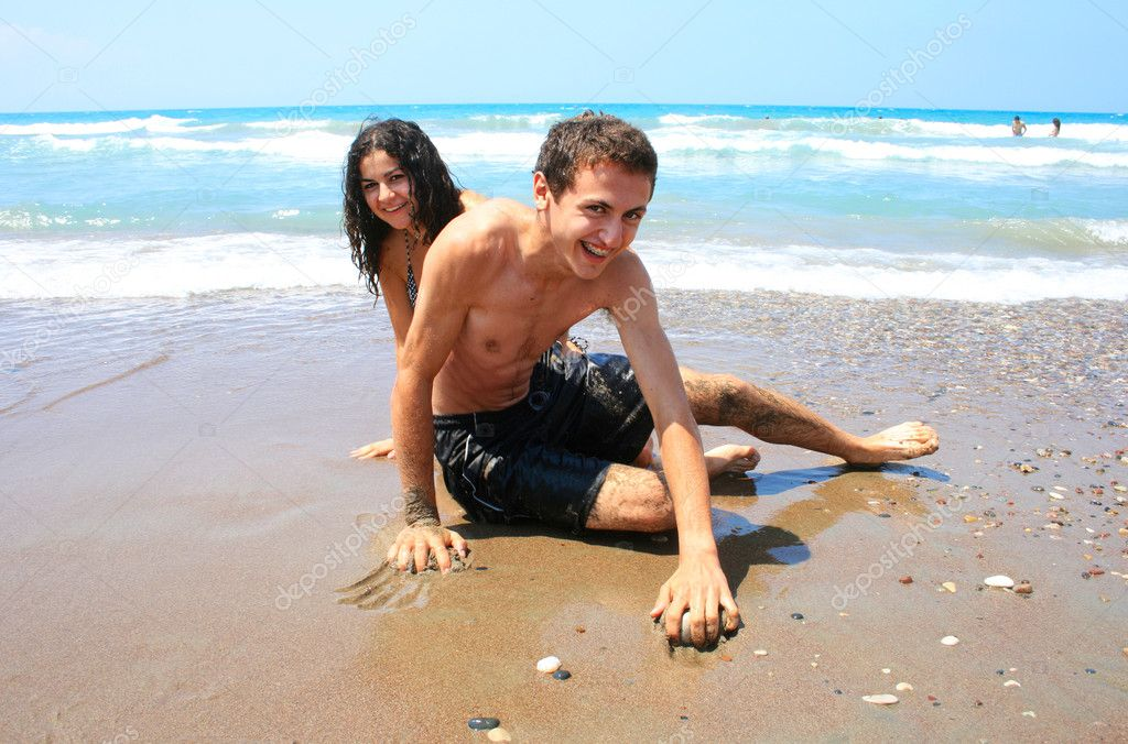 Teens am strand