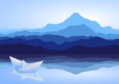 Blue mountains, lake and paper ship