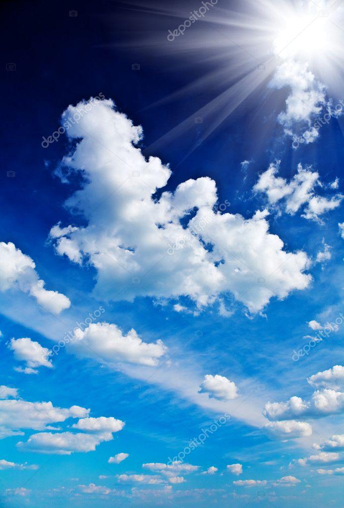 Beautyful dark blue sky with sun