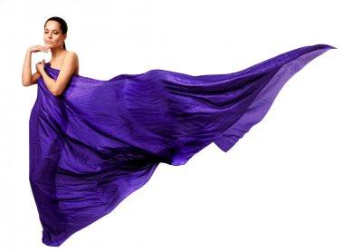 Beautiful woman in purple long dress