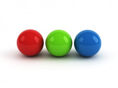 Red green blue balls over white background