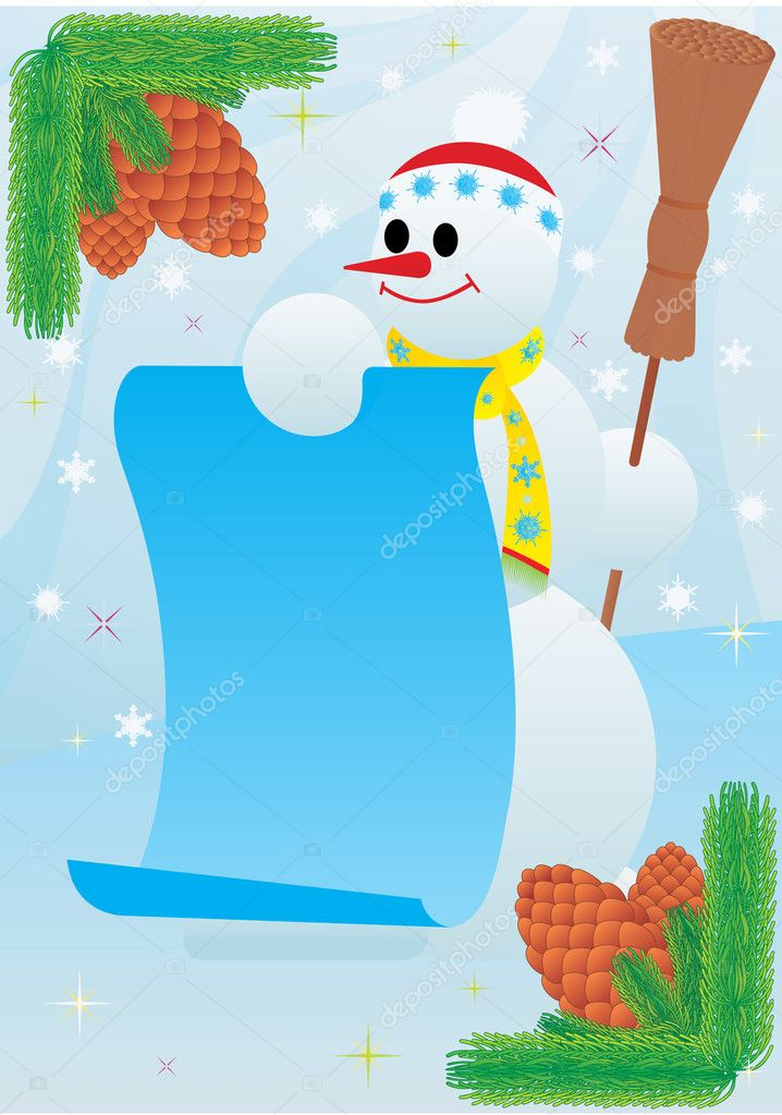 Snowman with a poster