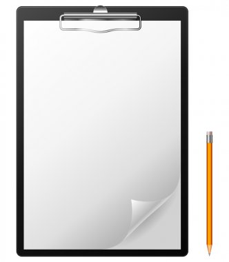 Clipboard with blank page and pencil. stock vector