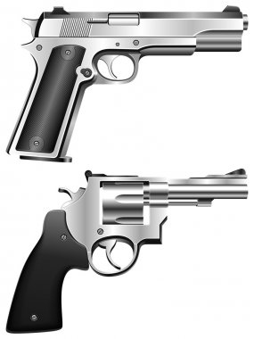Silver pistol and revolver. stock vector