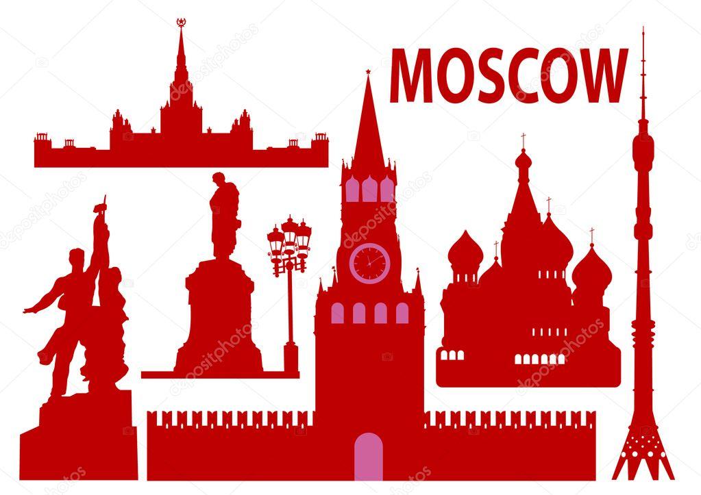 Moscow skyline and simbols
