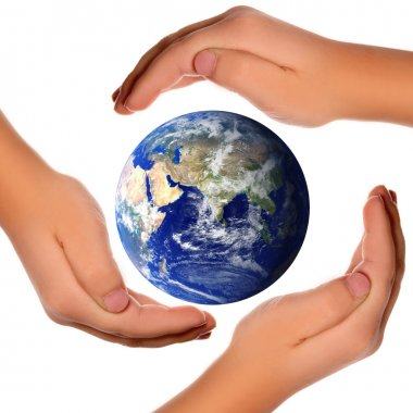 Save the world - hands around earth