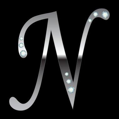 Silver metallic letter N