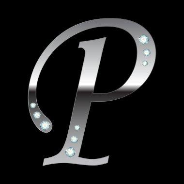Silver metallic letter P