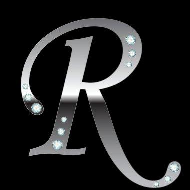 Silver metallic letter R
