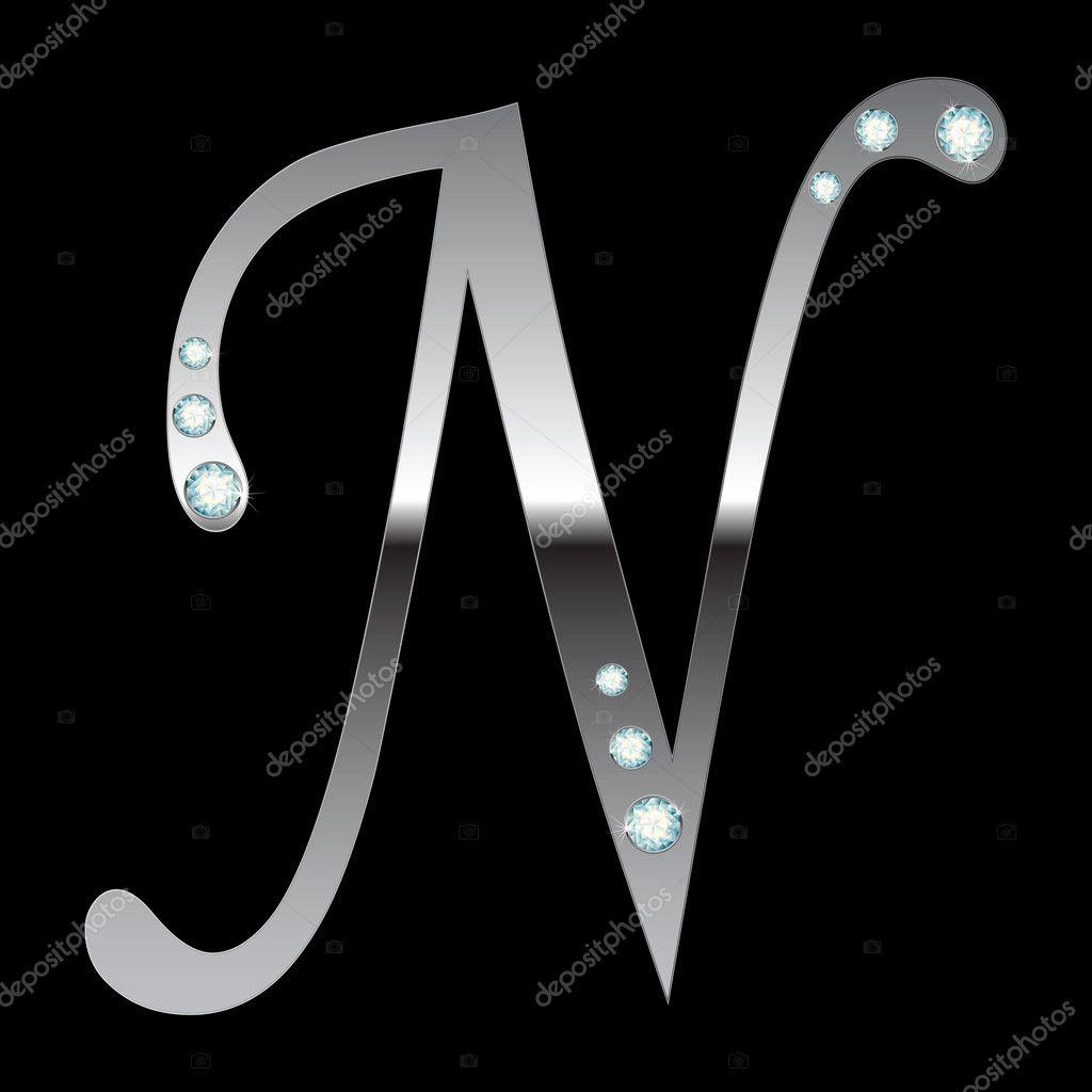 Silver metallic letter n stock vector ssylenko 2772156 - N letter images ...