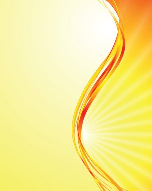 Vector sun on yellow background with orange rays clip art vector