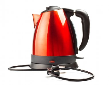 Red and black electrical tea kettle