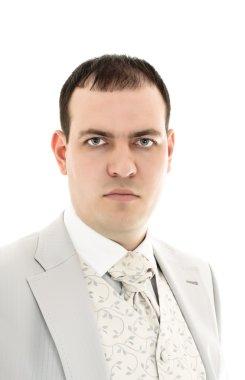 Man in wedding suit portrait
