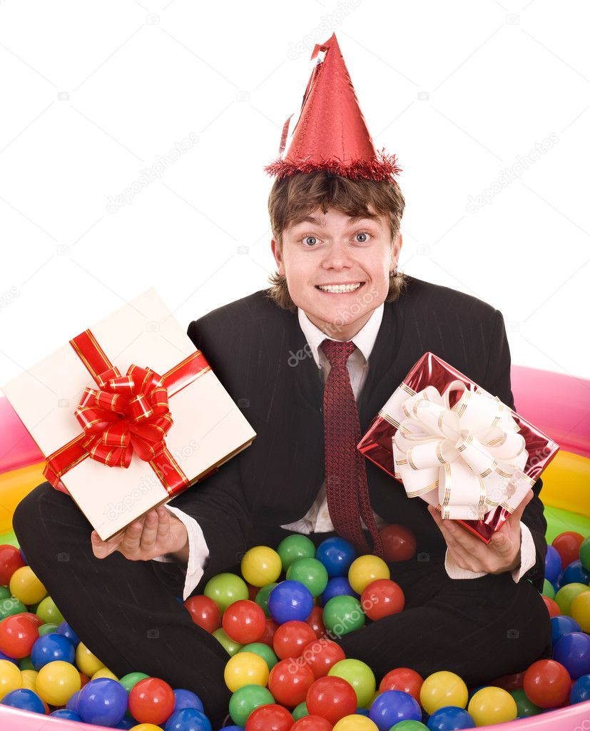 Businessman Birthday With Gift Box In Ball Isolated