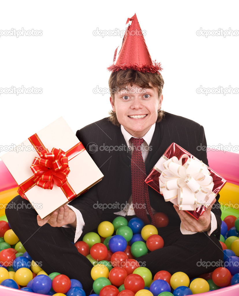 Businessman Birthday With Gift Box Stock Photo C Poznyakov 3916131