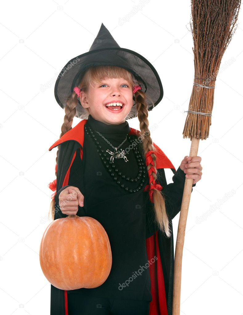 Child girl in costume Halloween witch with pumpkin, broom. — Stock ...