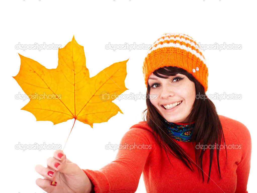 Girl in autumn orange maple leaf. Fall discount.