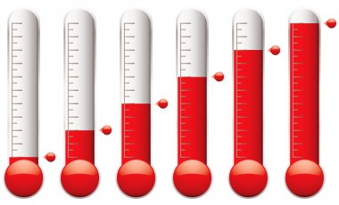 Set of thermometers with different levels of indicator fluid clip art vector