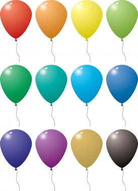 Illustration of a collection of balloons in a variation of colors with string stock vector