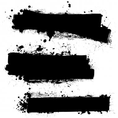 Three ink splat banners with grunge effect in black stock vector