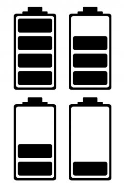 Simple battery black and white icon ideal for phone interface clip art vector