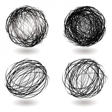 Black scribble balls with drop shadow illustrated icons clip art vector