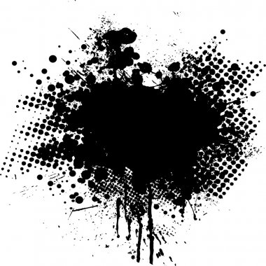 Ink splat overlayed by halftone dots in black and white stock vector