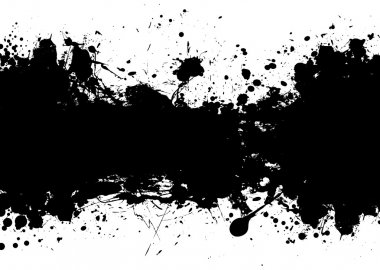 Black and white ink splat banner with room to add your own text stock vector