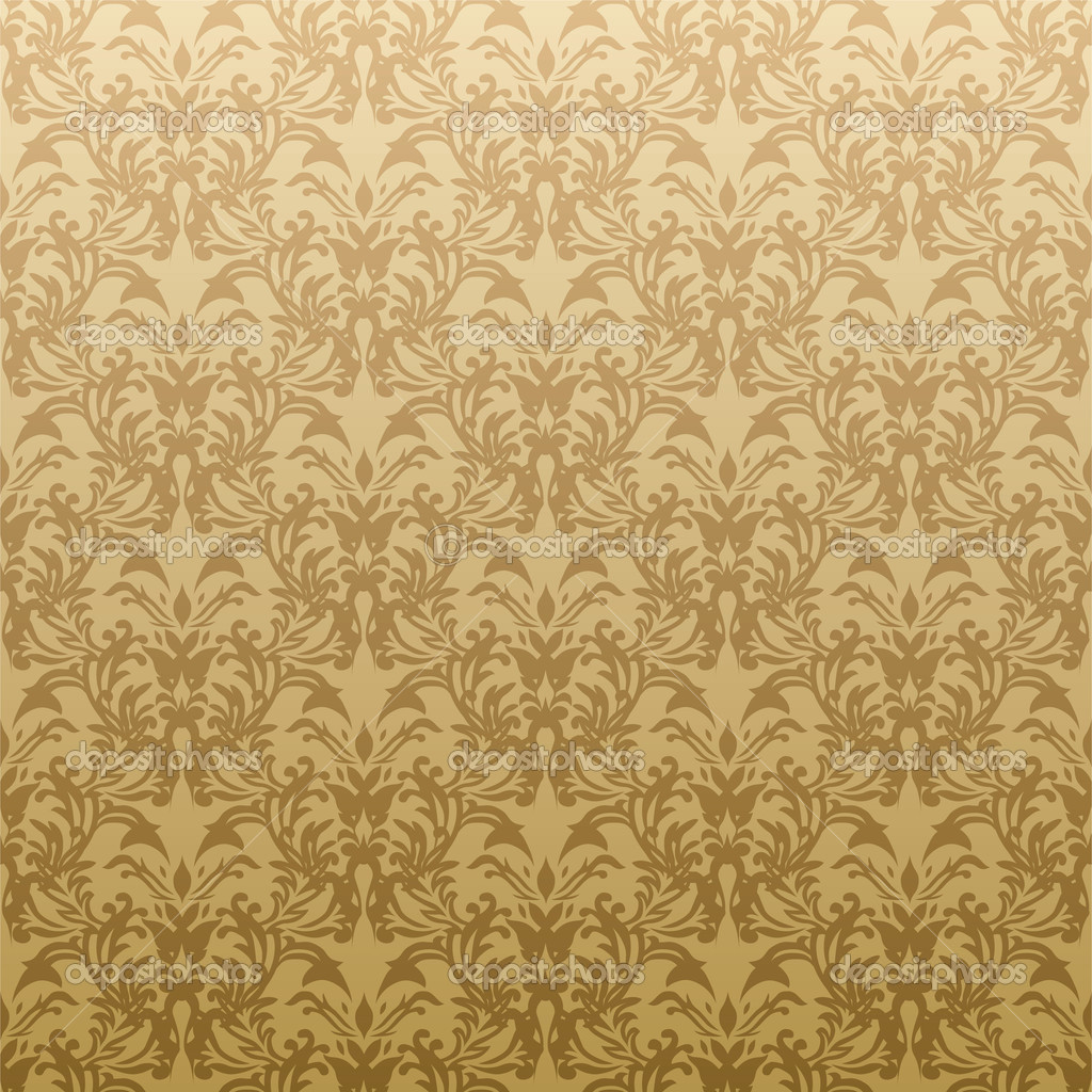 Floral Golden Wallpaper Stock Vector
