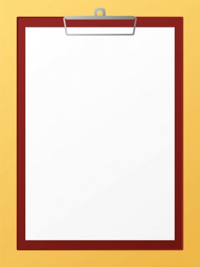 An illustration of a blank clip board ready for you to add your own text stock vector